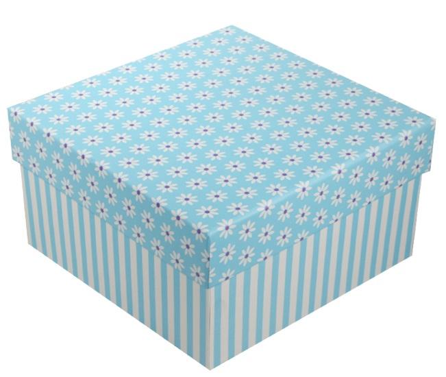 """Коробка подарочная """"Ромашки c полосками"""" голубая, 15*15*8.5см"""