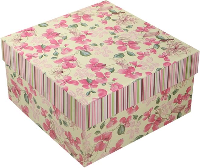 """Коробка подарочная """"Розовые цветы на белом"""" 15*15*8,5см"""