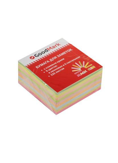 Блок бумаги 50*50 самоклеящийся Magic Cube 225л, 4 неон. и 5 пастел.цветов, GoodMark