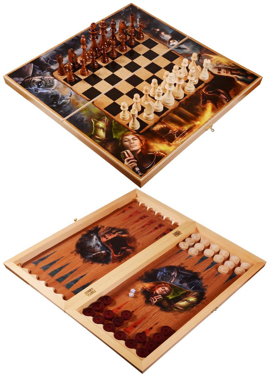 Набор шахматы, нарды, шашки Огонь и Лед (50х50)