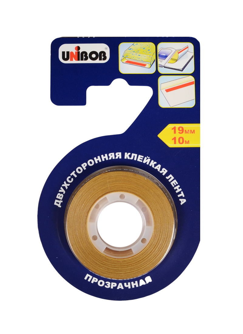 Лента клейкая 19мм*10м двустрон., прозр., д/бумаги и пленки, блистер, Unibob