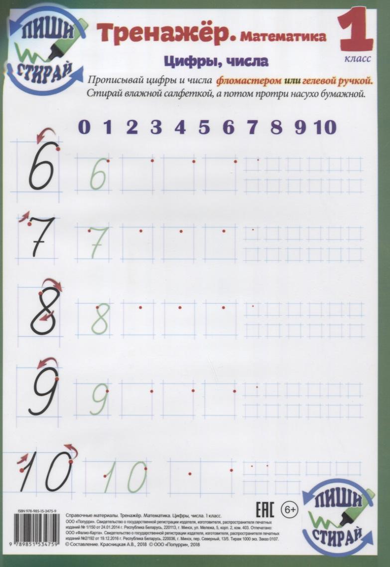 Красницкая А. (сост.) Справочные материалы. Тренажер. Математика. Цифры, числа. 1 класс