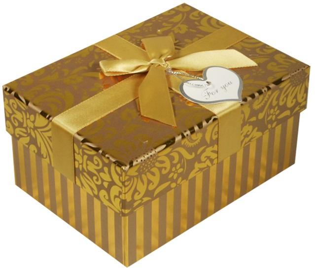 """Коробка подарочная """"Узор"""" желтый металлик, 15,5*11*8см"""
