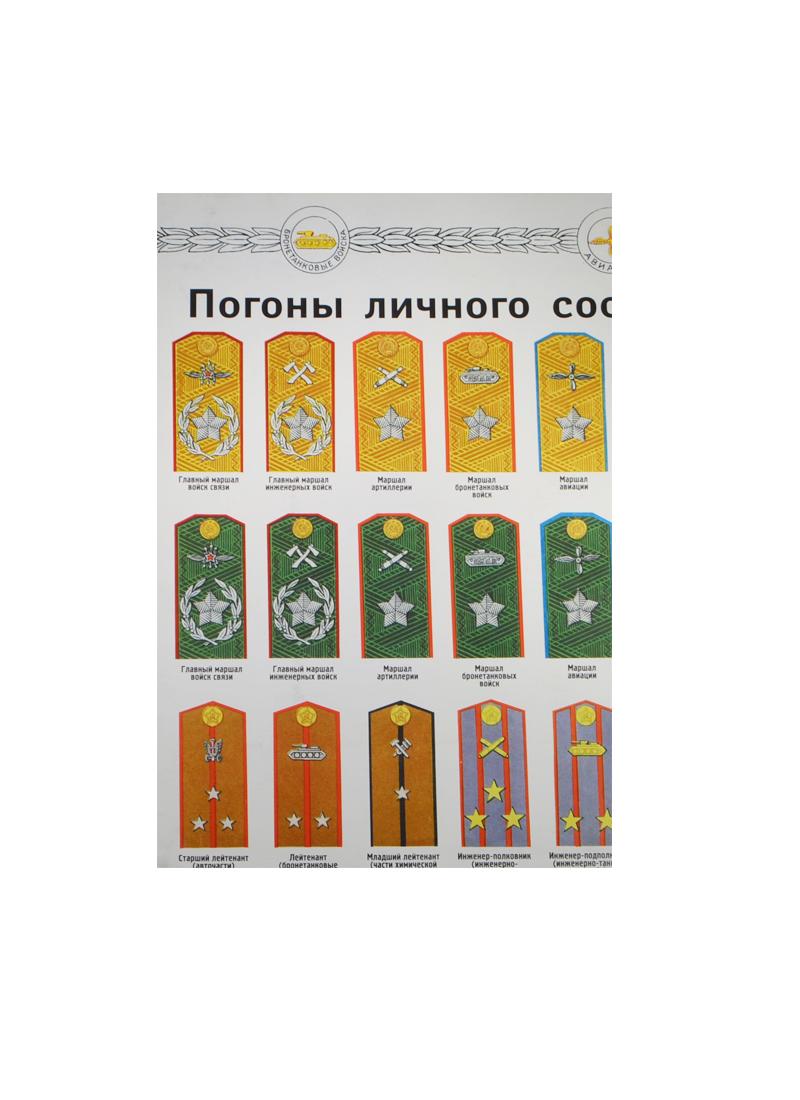 Плакат Погоны личного состава Красной армии