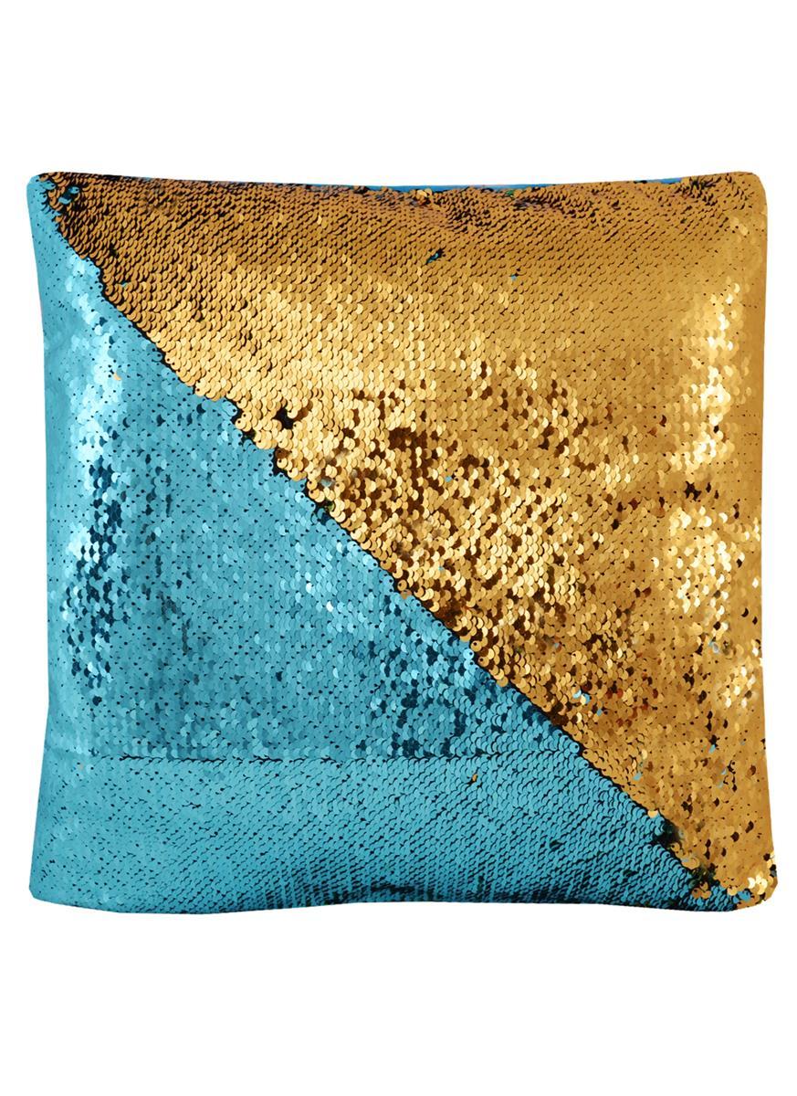 Подушка с пайетками золотая с изумрудным (37х37)