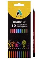 Карандаши цветные 12 цветов Blackline, черное дерево, ADEL