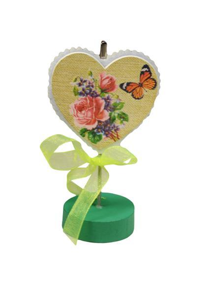 Держатель для визиток Сердце с бабочкой (дерево, фетр)
