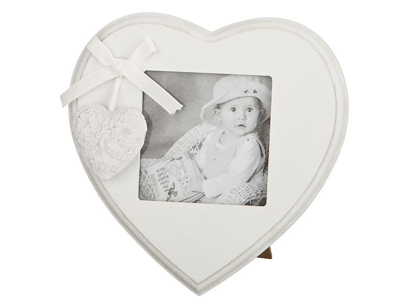 Фоторамка сердце Снежно-белый прованс (14х14х3)