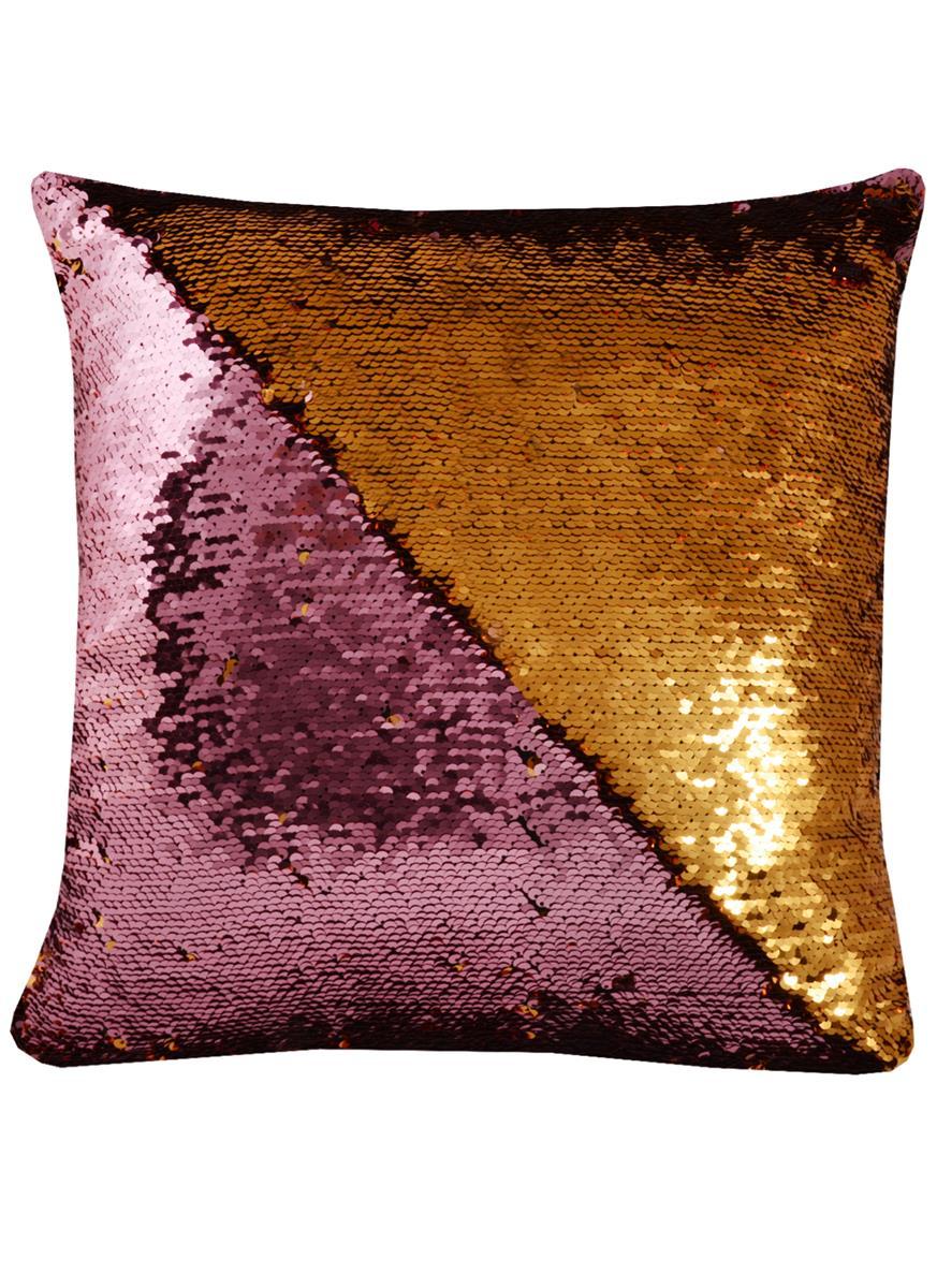 Подушка с пайетками розовая с золотом (37х37)