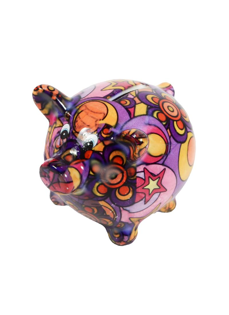 Копилка Свинка с узорами малая (керамика) (9х12)