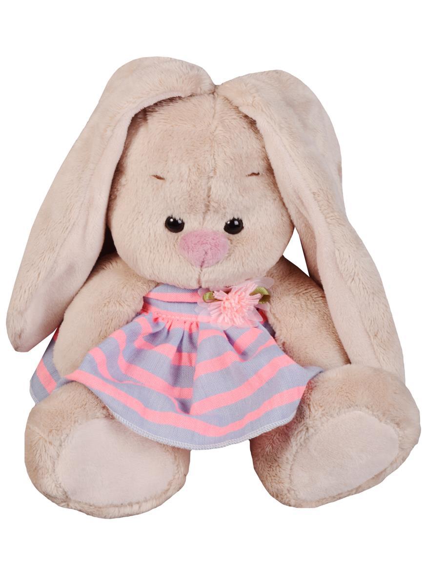 Мягкая игрушка Зайка Ми в платье в полоску (15 см)