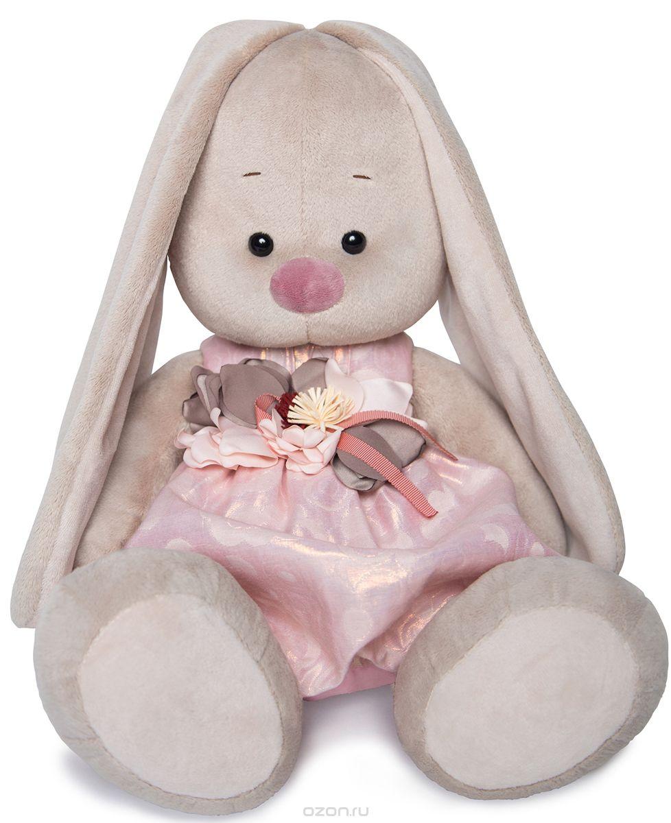 Мягкая игрушка Зайка Ми в розовом платье с цветком (34 см)