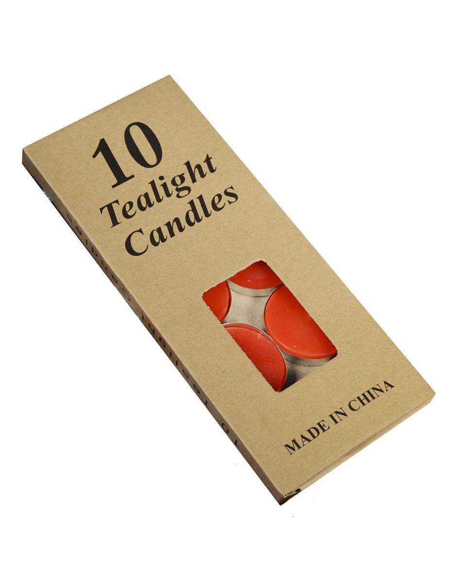 Набор чайных свечей в крафт коробке (10шт) (красные)