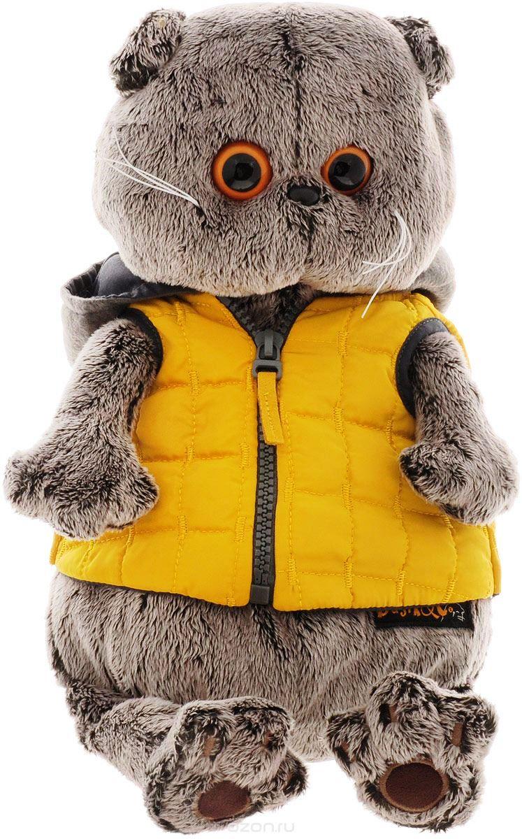 Мягкая игрушка Басик в желтой жилетке с серым капюшоном (25 см)