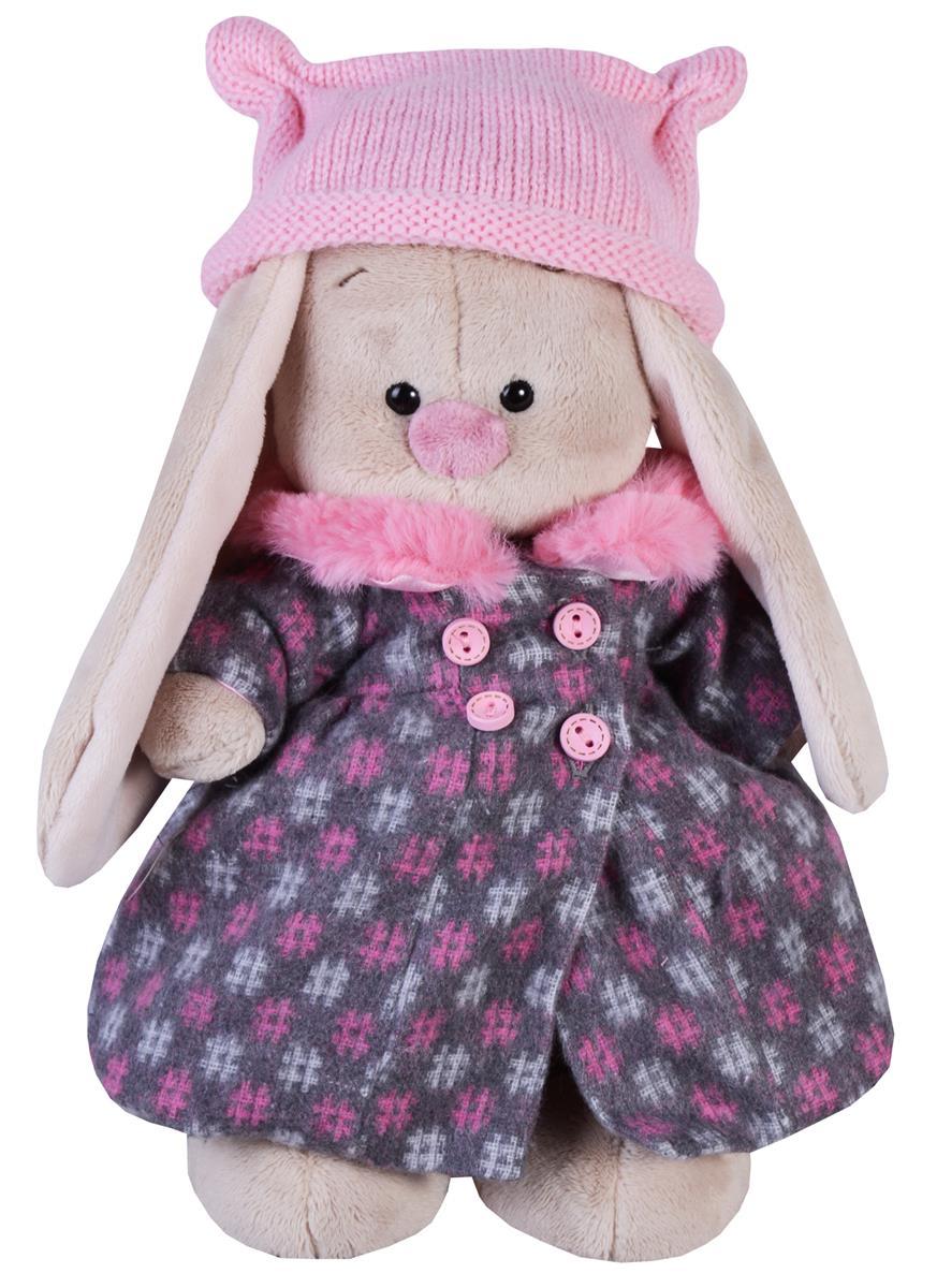 Мягкая игрушка Зайка Ми в пальто и розовой шапке (25 см)