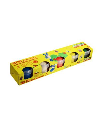 Тесто для лепки Каляка-Маляка 5 цветов (красный, желтый, зеленый, синий, белый) (по 90 грамм в банке) (3+)