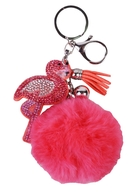 Брелок-помпон с подвеской Фламинго (мех) (7см)