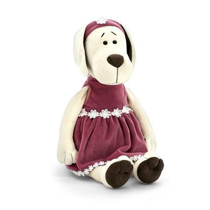 Мягкая игрушка Собачка Лапуська в бархатном платье (30 см) (OS122/30)