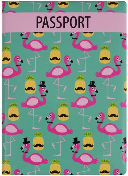 Обложка для паспорта Фламинго и ананас с усами