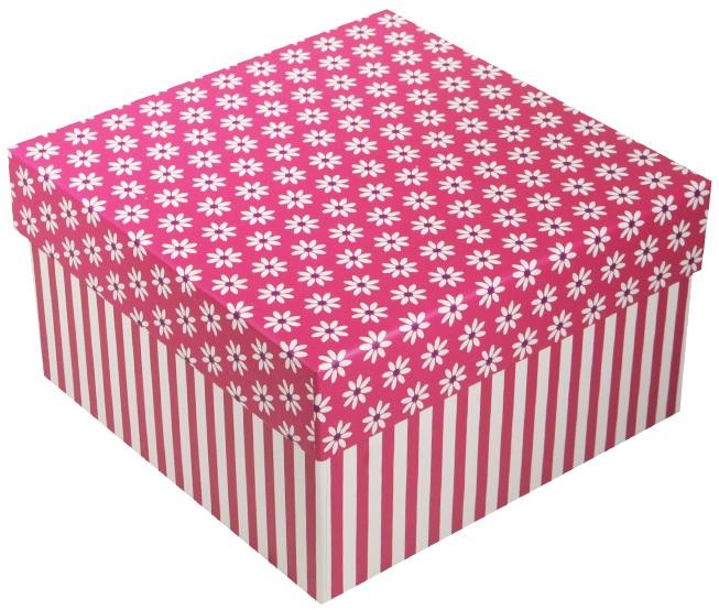 "Коробка подарочная ""Ромашки c полосками"" фуксия, 15*15*8.5см"