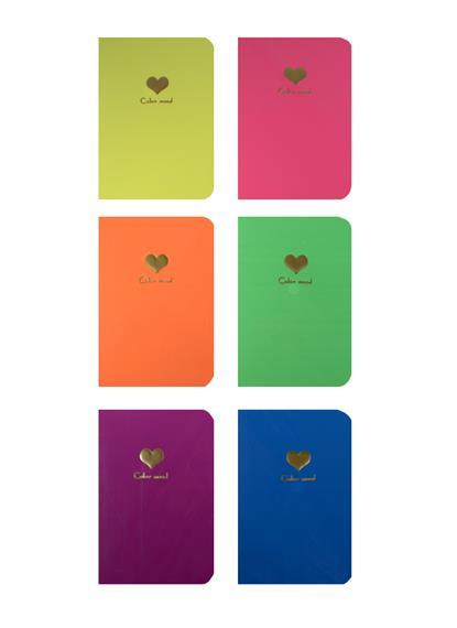 """Записная книжка А6 20л """"Color mood"""" с объемным сердцем, сшивка, неоновые цвета, ассорти, AnAn"""
