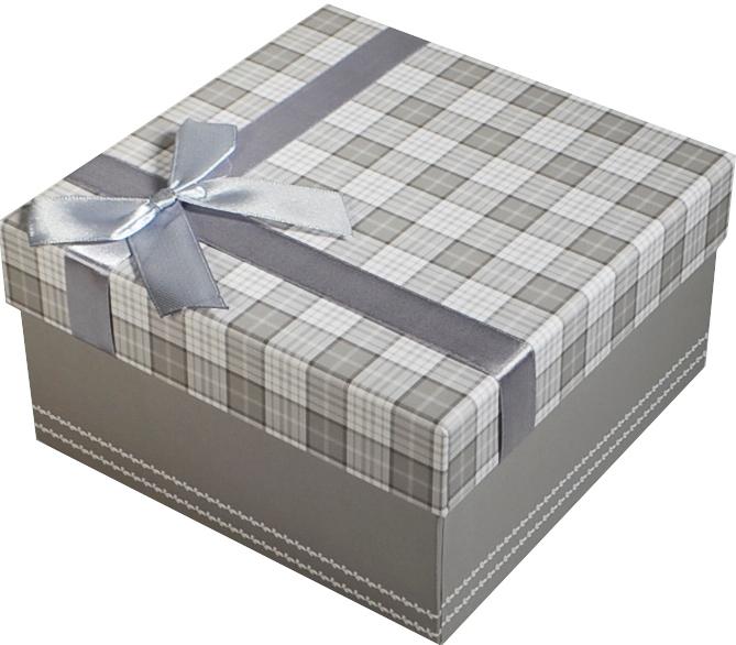 """Коробка подарочная """"Клетка серая"""" 17*17*9см"""