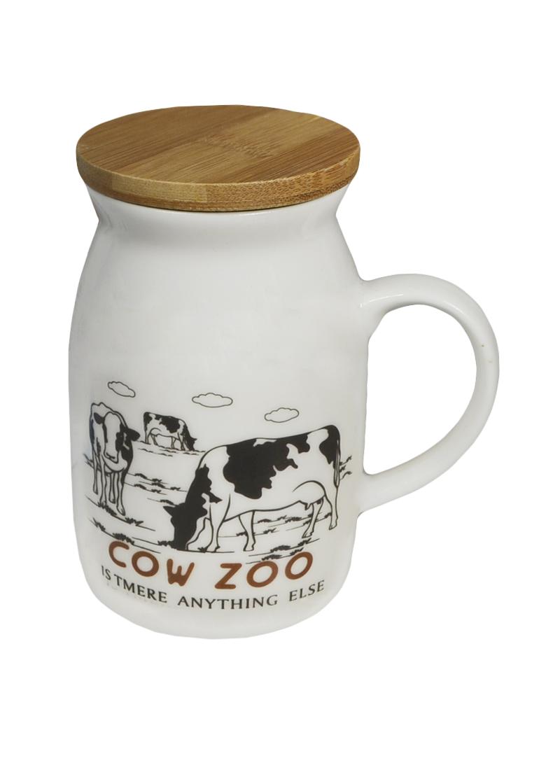 Кружка с коровой 2 с бамбуковой крышкой (003060) (Карамба)
