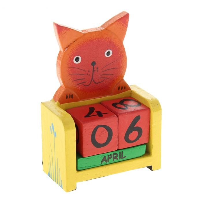Календарь вечный дерево Рыжий кот (7,2х3,8х10,6) (870678) (Сима-ленд)