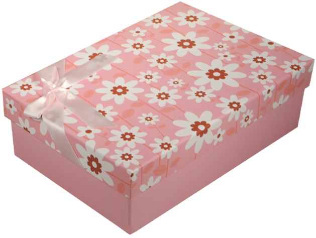 "Коробка подарочная ""Ромашки"" розовая, 20*13*6см"