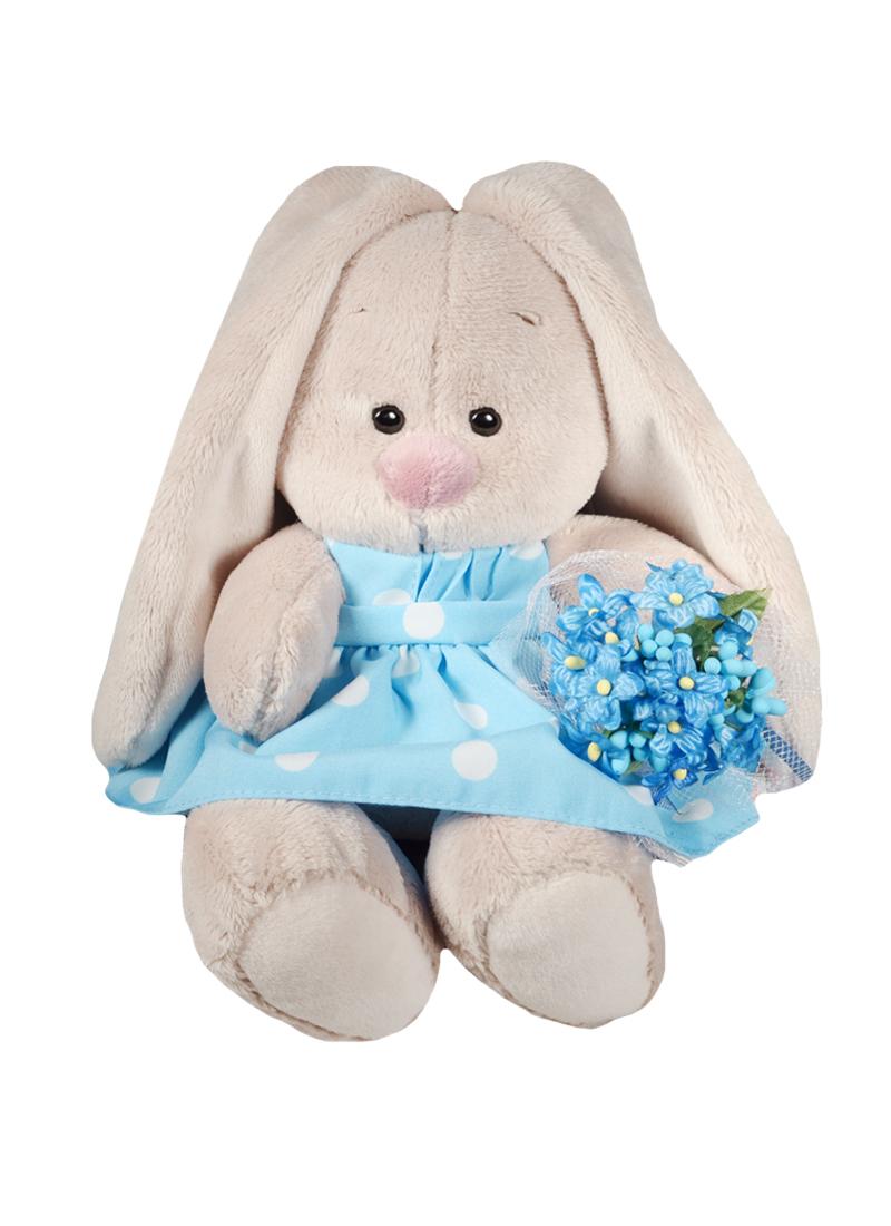 Мягкая игрушка Зайка Ми в голубом платье с букетом незабудок (15 см) (SidX-141)