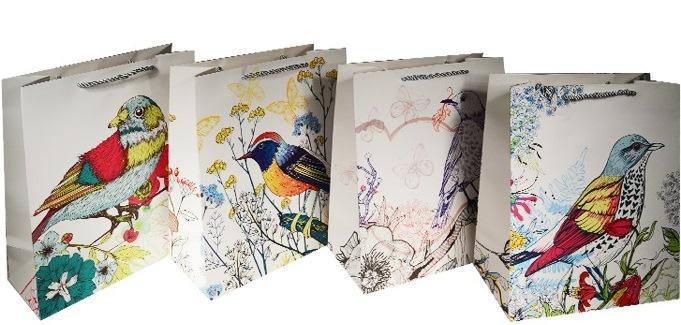 "Пакет подарочный бумажный ""Птицы"", А5"