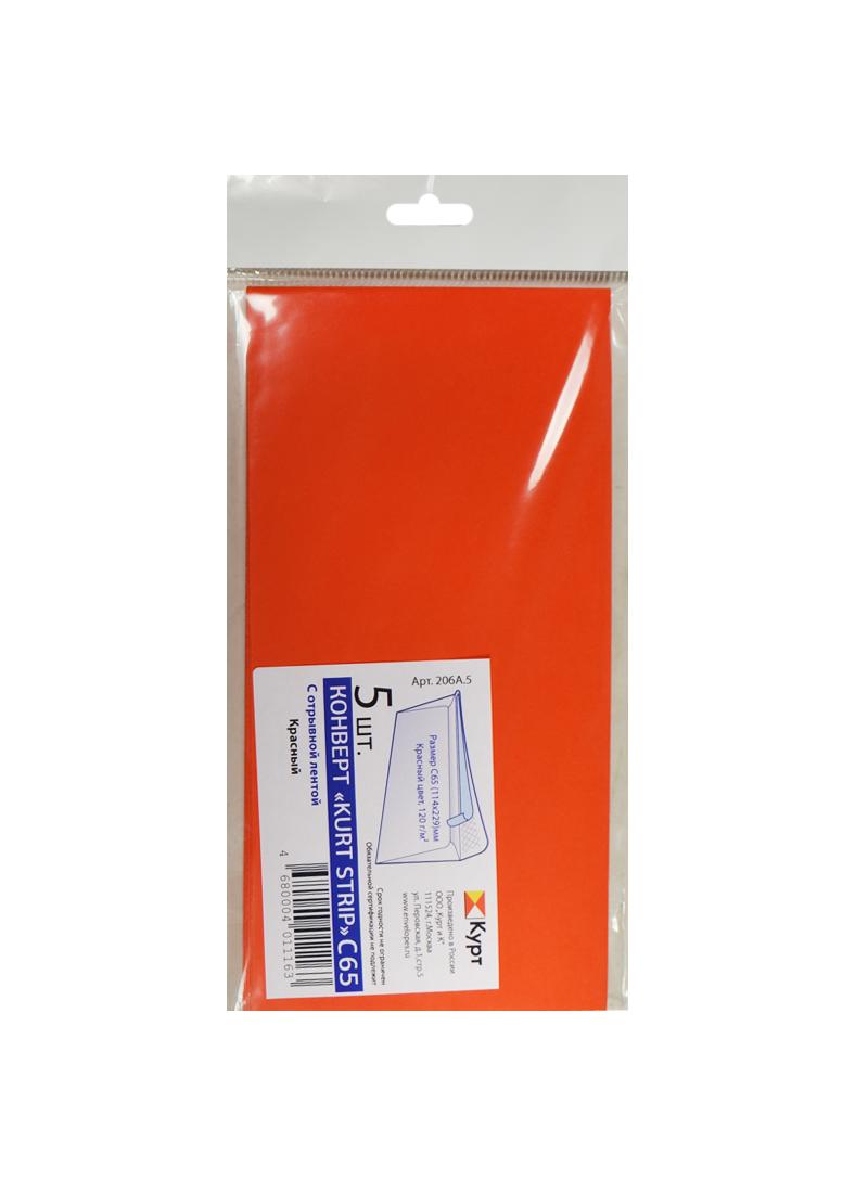 Конверт С65 (114*229) 05шт, 120 г, красный, европодвес, Курт