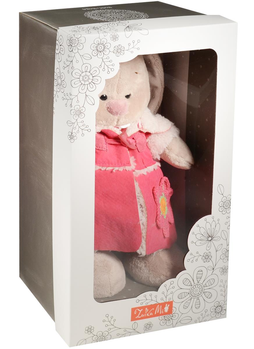 Мягкая игрушка Зайка Ми в платье и розовой дубленке (25 см)