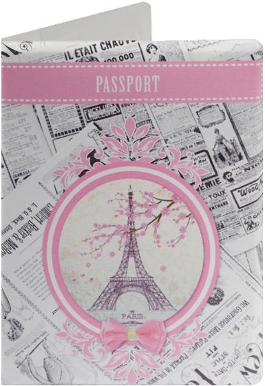 """Обложка для паспорта """"Эйфелева башня на фоне газет"""""""