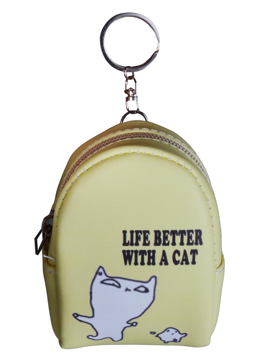 Сумочка-рюкзачок на молнии Life is better with a cat (10см) (ПВХ бокс)