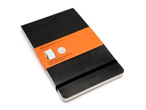 """Записная книжка А6 96л лин. """"Reporter Soft"""" черная, мягкая обложка, резинка, карман, Moleskine"""