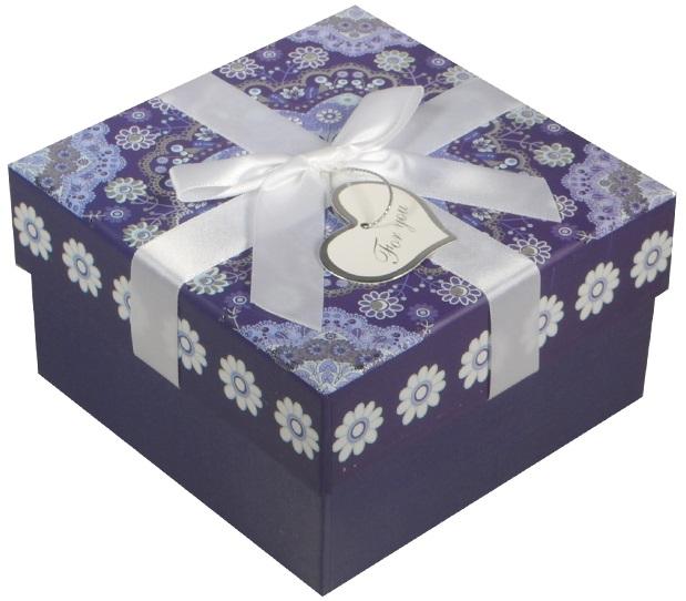 """Коробка подарочная """"Орнамент"""" синяя, 9*9*5,5см"""