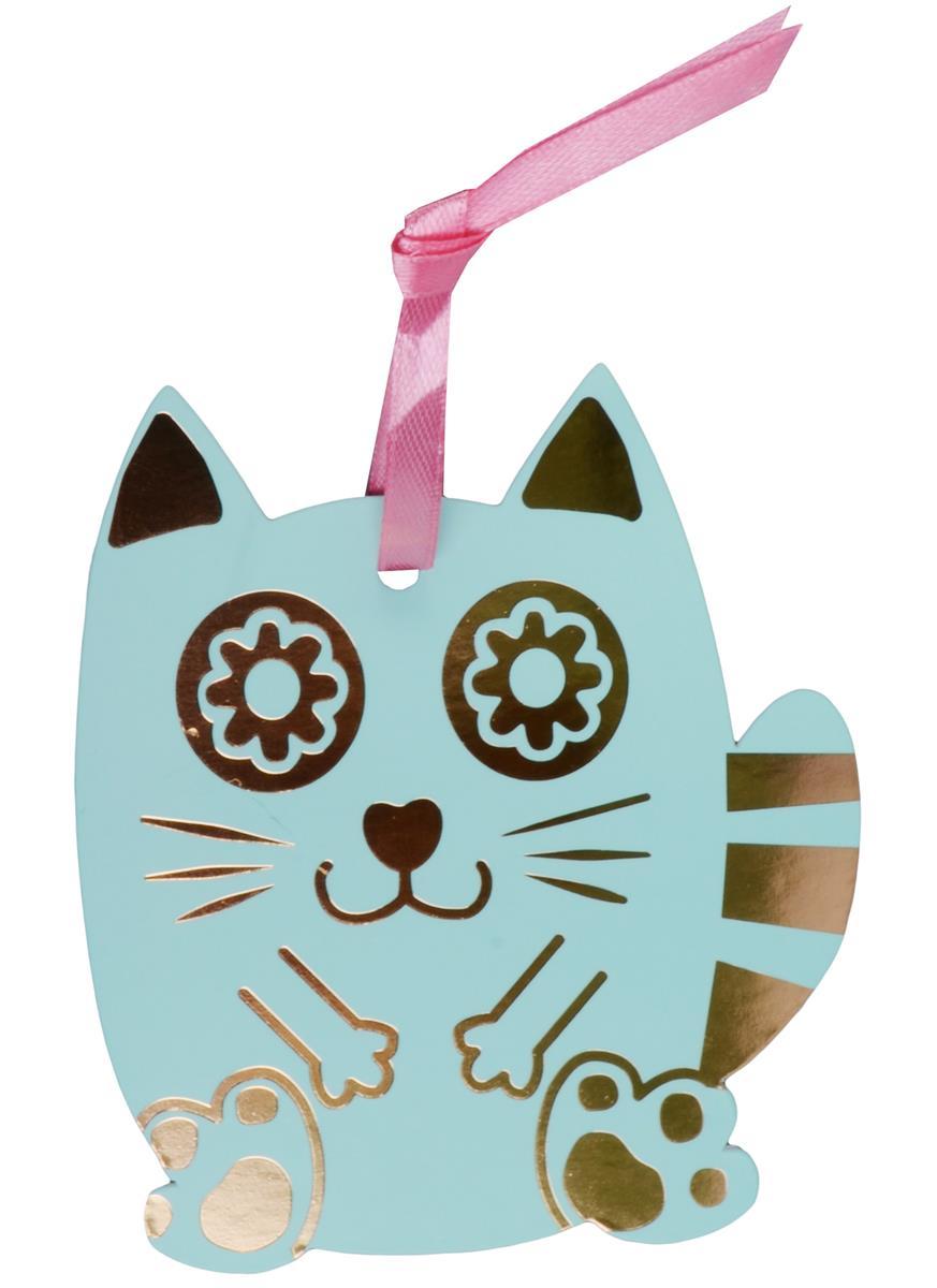 Закладка для книг Счастливый кот (зеленый)