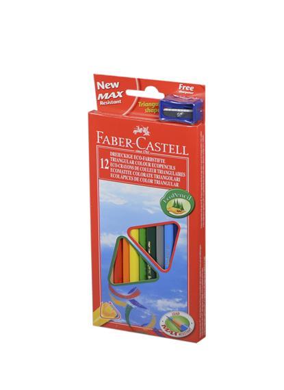 """Карандаши цветные 12цв """"ЕСО"""" трехгранные, точилка, к/к, подвес, Faber-Castell"""