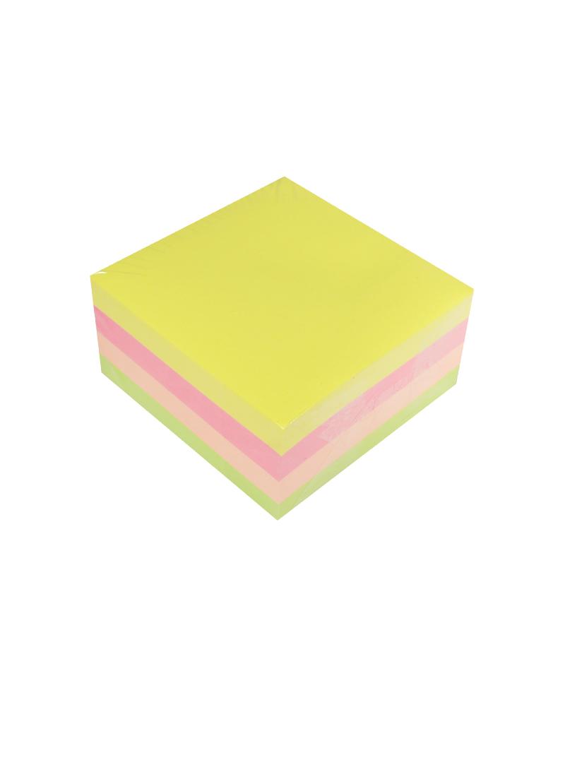 Блок бумаги 75*75 самоклеящийся, неон 4 цвета, 400 листов