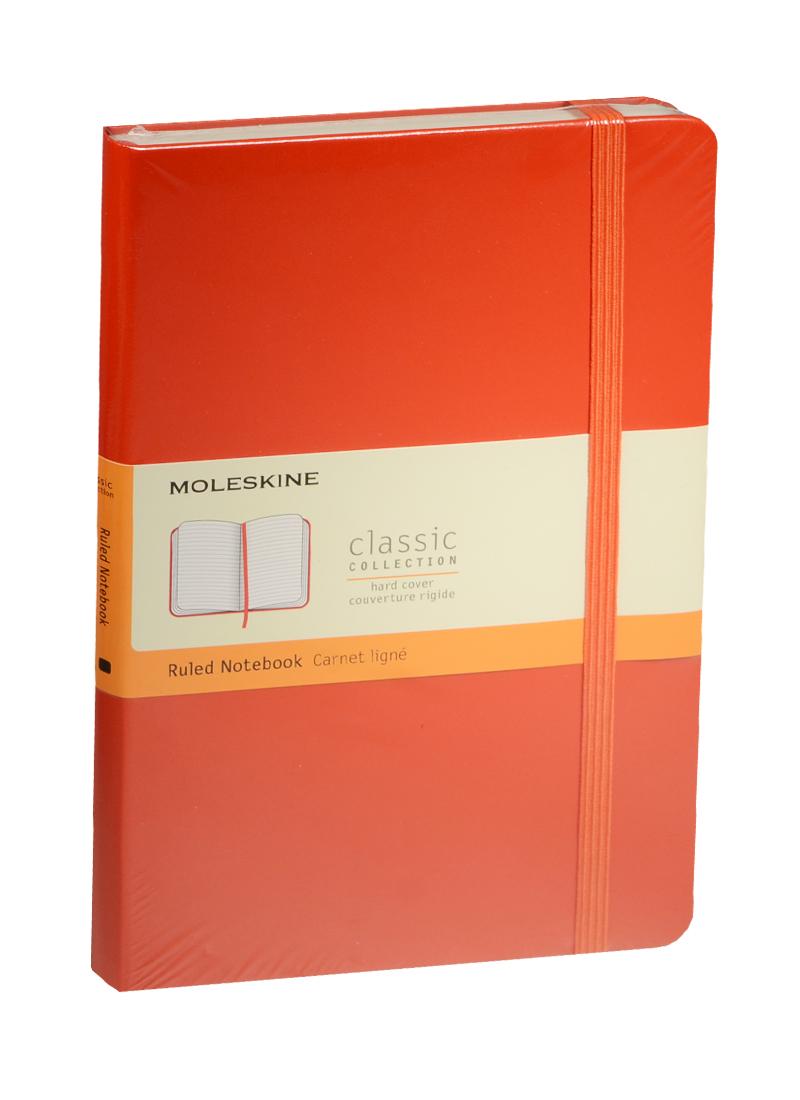 """Книга для записей А5 120л лин. """"Classic Large"""" красная, жесткая обложка, резинка, Moleskine"""