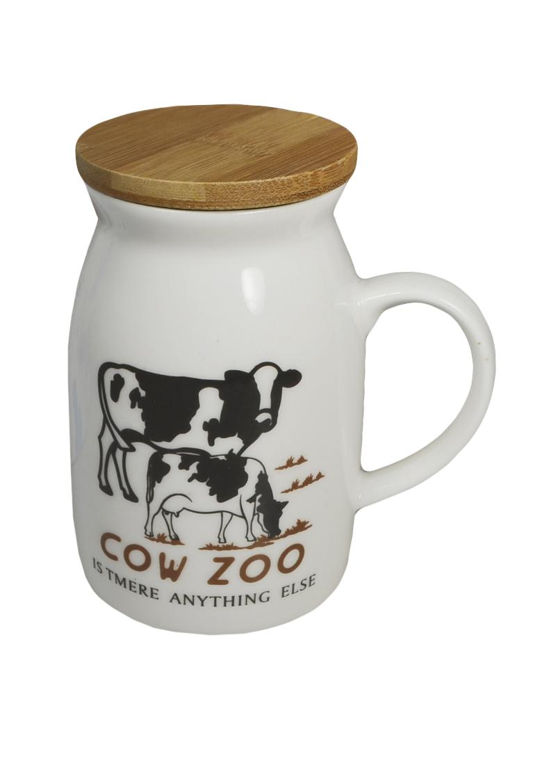 Кружка с коровой 1 с бамбуковой крышкой (003059) (Карамба)