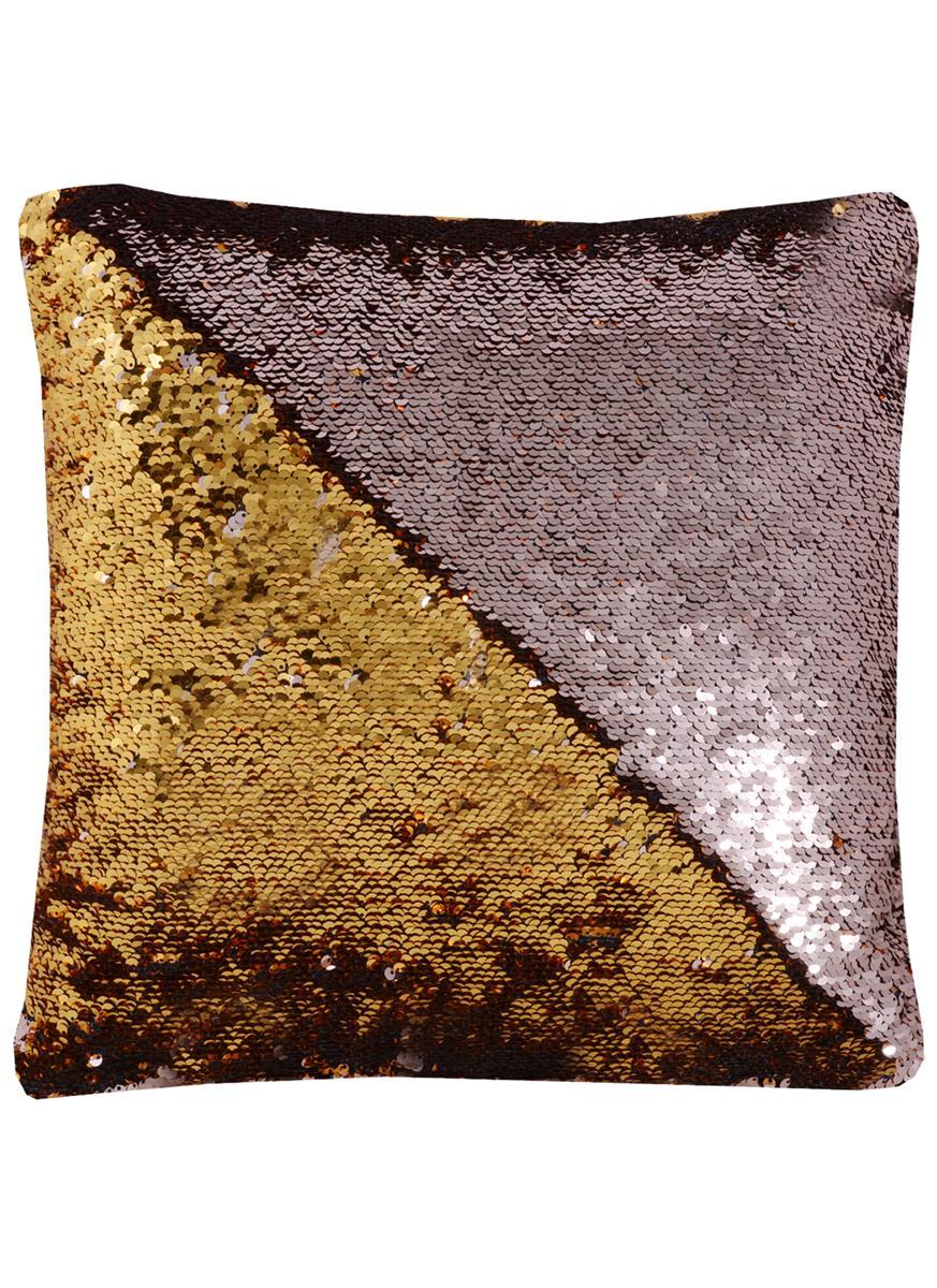 Подушка с пайетками медная с золотом (37х37)