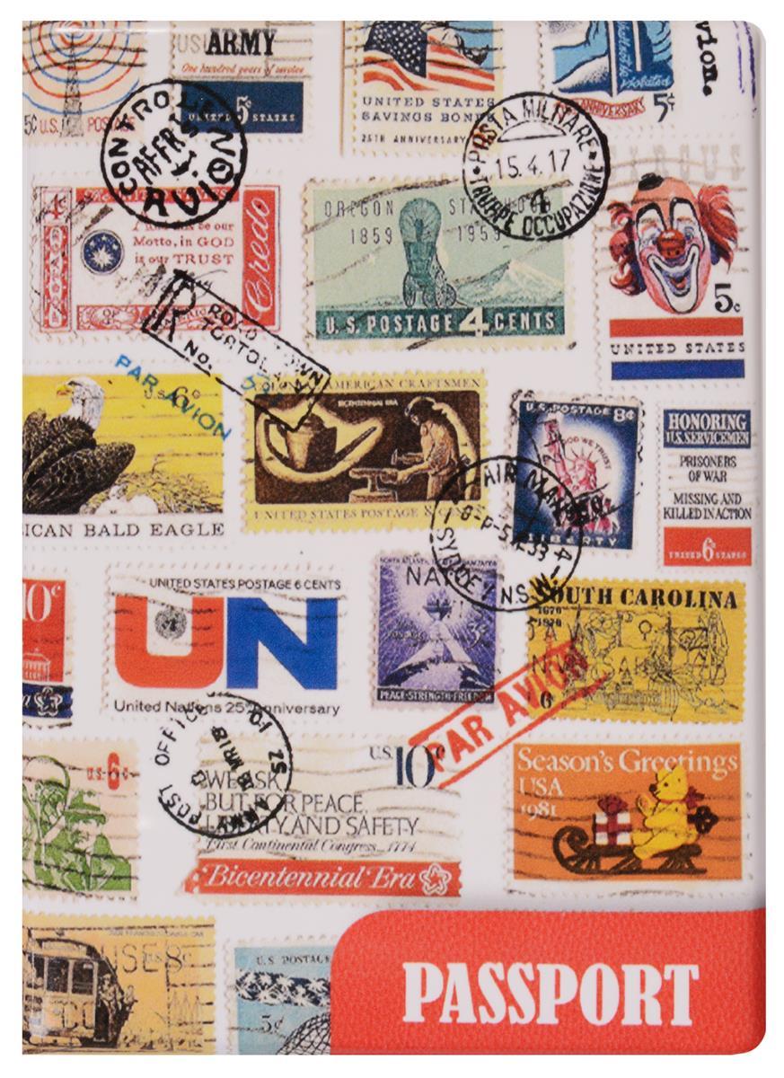 Обложка для паспорта Марки разных стран с печатями (ПВХ бокс)