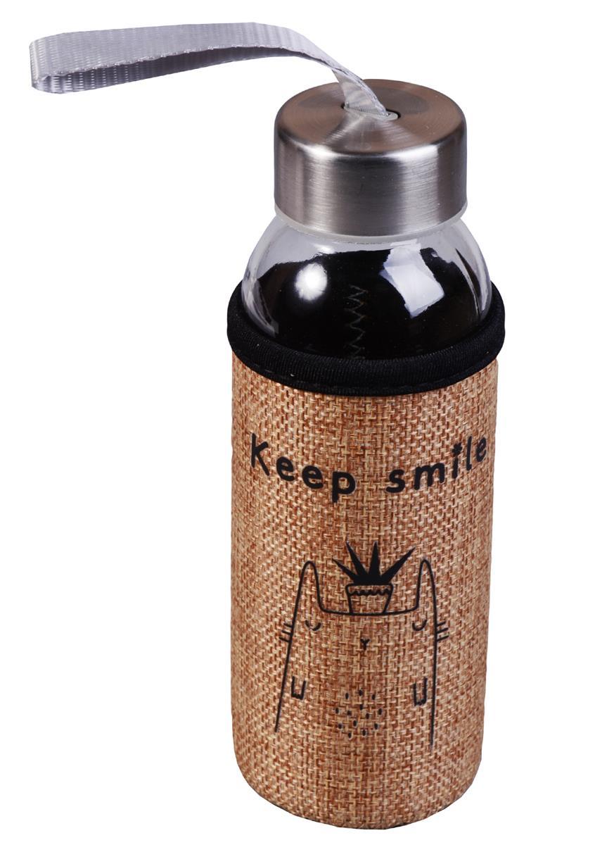 Бутылка в чехле джут Единорог/Коты (стекло) (300мл)