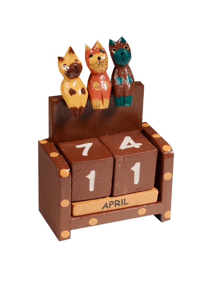 Календарь вечный дерево Три котёнка (13х4х8)