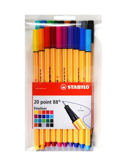 Ручки капиллярные 20цв STABILO point