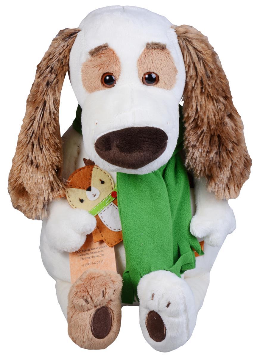 Мягкая игрушка Такса Бартоломей в шарфе и с оленем (33 см)
