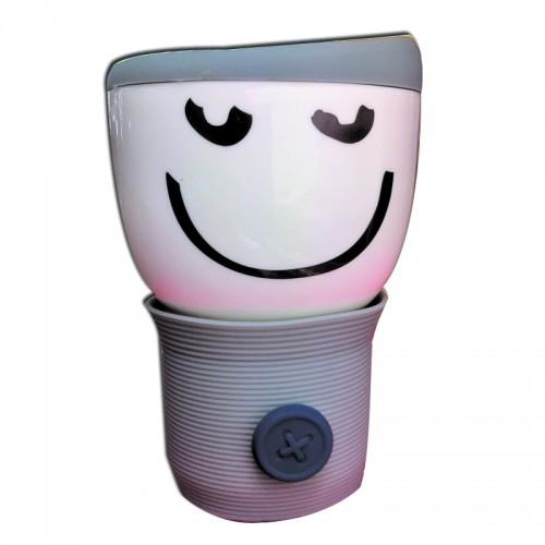 Кружка с силиконовой крышкой Smylie Guy,серая (110WG-1-234-6) (Ритейл Айдиа)