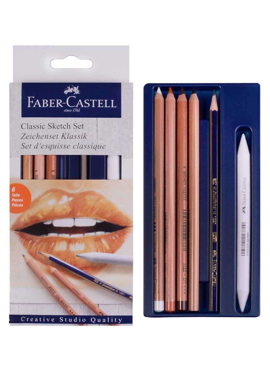 """Набор для рисования """"Классический"""" 7 шт. (чернографитный карандаш, пастельный карандаш (без масла) 3шт. , пастельный карандаш (масляный) 3шт., растушевка) к/к, Faber-Castell"""